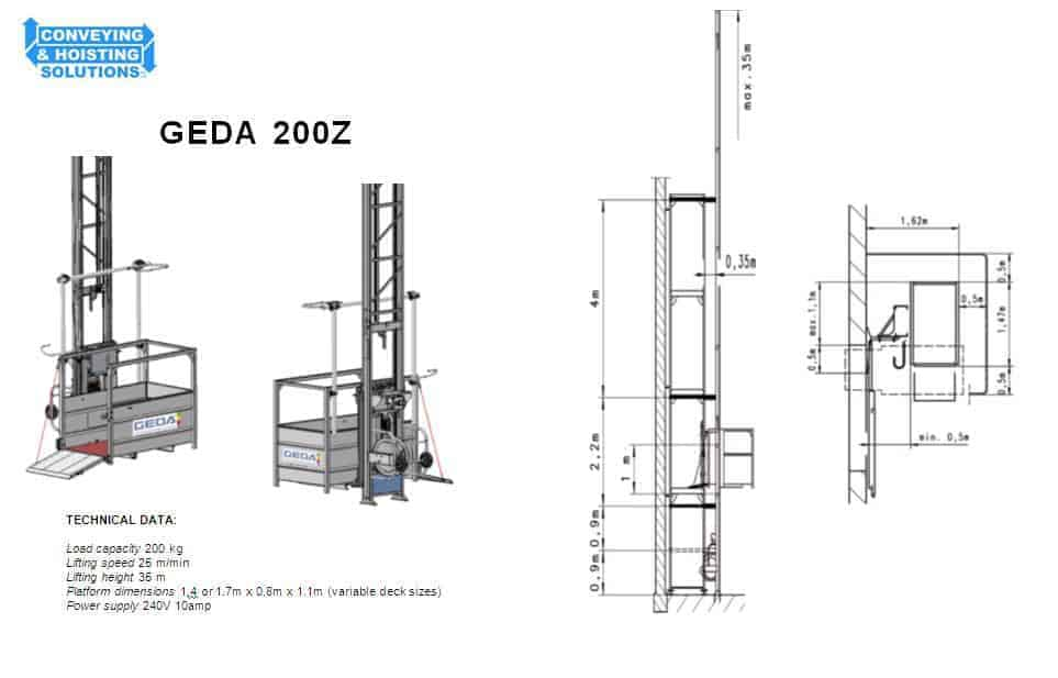200kg Combi Lift Materials Hoist Hire | Conveying & Hoisting
